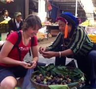Gemma loves the produce in the local markets. Cycle tour China Tibet
