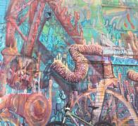 Bicycle mural Bogota city
