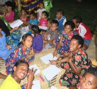 Hanging out with the kids in Vanua Levu Fiji