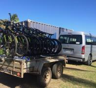 Stacked and packed on the rack and ready to ride in Fiji