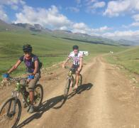 Janine and Richie cycle touring in Kyrgyzstan