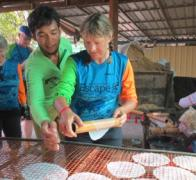 Have you ever wondered how rice paper wraps are made Village Industries in Cambodia make them by hand one at a time