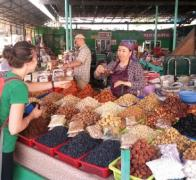 Local village markets are the best place to find what is grown locally And a great opportunity to meet the local people Spices and dried fruit in Kyrgyzstan