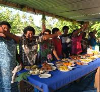 On our Fijian village stay we wake up to a breakfast for a Fijian chief And its all made right here in the village