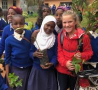 Planting trees together in the Usambara Mountains and making new friends