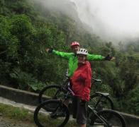 John and Mandy on our Colombian research cycle tour. Climbing to 3500m