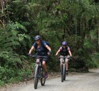 Kathy and Virginia power up through the cloud forest on the ascent into Los Nevados Colombia