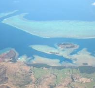 Cycle touring in Fiji. Views of the reef from above.