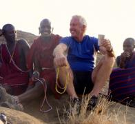 Chewing the fat with our Maasai friends at Solomons Rock in Kenya