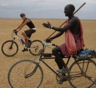 Yoka pedalling with the locals in Kenya