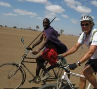 You never know who you might meet when riding your bike in Kenya