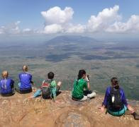 Checking out the view over the Maasai Steppe in Tanzania