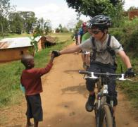High fives all round biking in Tanzania