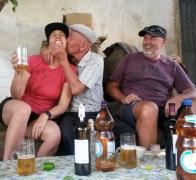 1Having a couple of drinks with our Kyrgyz home hosts2