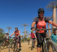 Julie and friends cruising the avenue de Baobab in Madagascar by bike